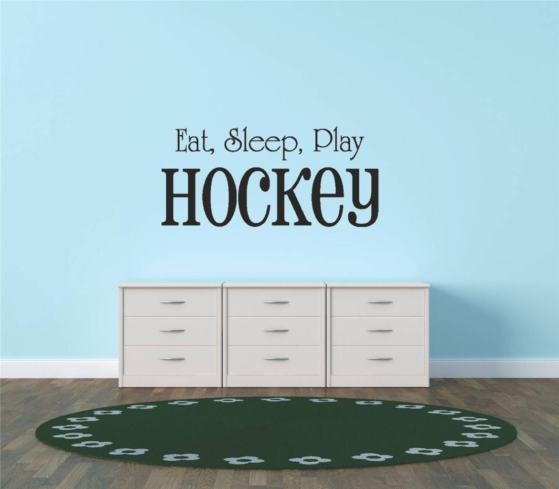 Design with Vinyl Hope 32 Eat Sleep Play Hockey Sport Quote Sign Car Bumper Window Banner Kid Children Boy Girl Team Pride Encouragement Bedroom Decals Stickers 15 x 30 Black