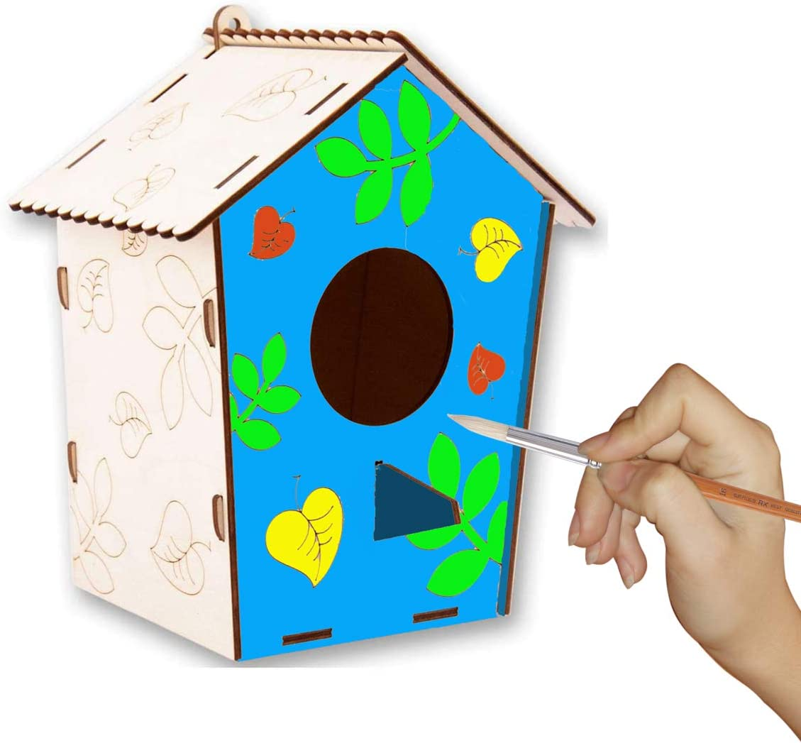 Bird House Kits for Children to Build and Paint Make Your Own Birdhouse 3D Wooden Puzzle Kit for Kids Unpainted Bird Houses for Outside Hanging DIY Wood Arts and Crafts Set for Boys Activity