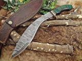 Damascus Steel Kukri Knife 15 Inches custom made Hand Forged With 10'' long blade, Green wood with engraved brass scale, Cow Leather Sheath