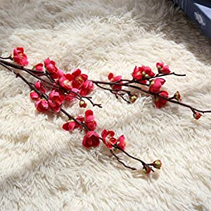 LtrottedJ Artificial Fake Flowers Plum Blossom Floral Wedding Bouquet Home Decor Pink 36