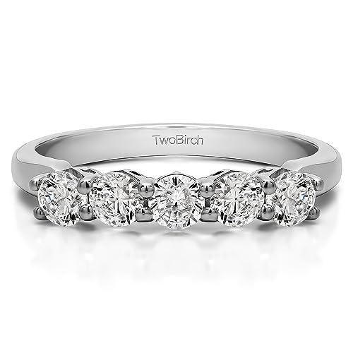 1 CT 5 piedra diseñado perfil anillos de boda plata diamantes (g-H, I1-