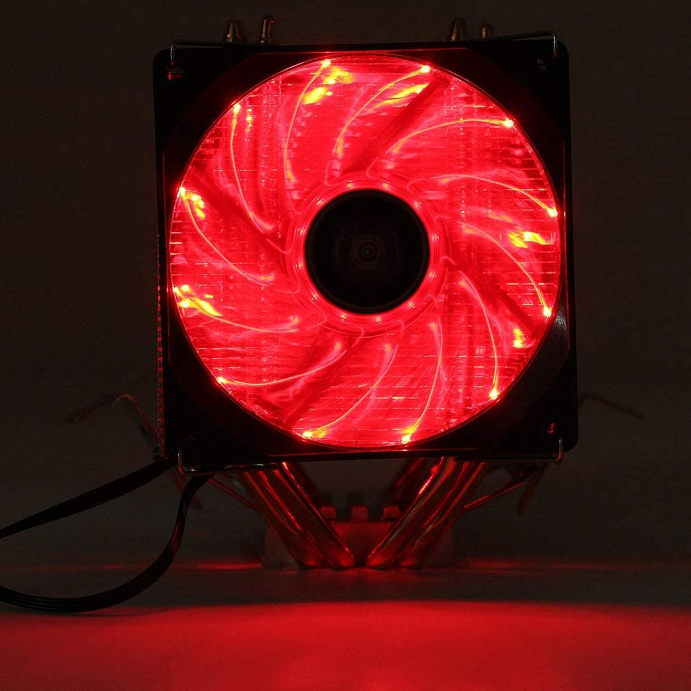 Color : Red, Size : One Size Cooling Case Fan LED Double Heat Pipe Dual Fan Quiet CPU Cooler Cooling Fan Heat Sink Compatible with LGA 1155 775 1156 AMD for Computer Cases Cooling