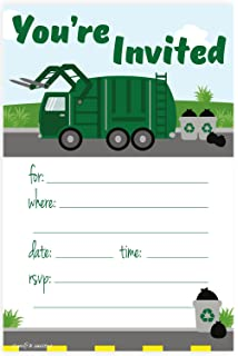 Amazon garbage truck birthday party invitations for boys ten 5 garbage truck birthday party invitations fill in style 20 count with envelopes filmwisefo