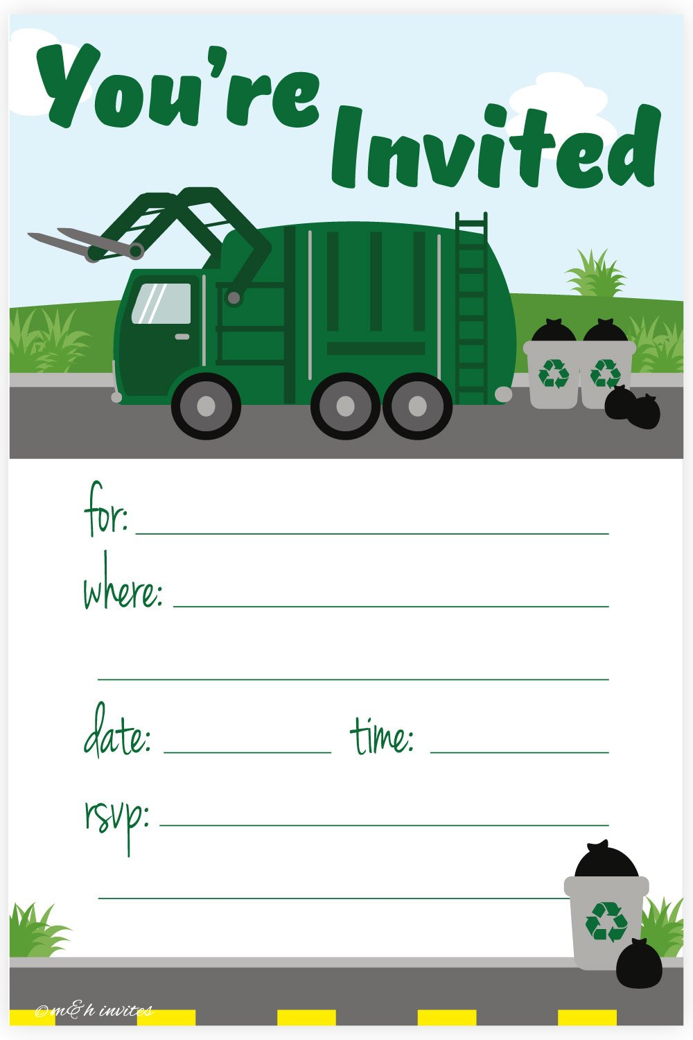 Garbage Truck Birthday Party Invitations - Fill In Style (20 Count) With Envelopes
