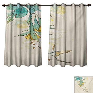 Hummingbird Bedroom Thermal Blackout Curtains And Tropical Flowers Summertime Stylized Exotic Plant Nature Art Drapes