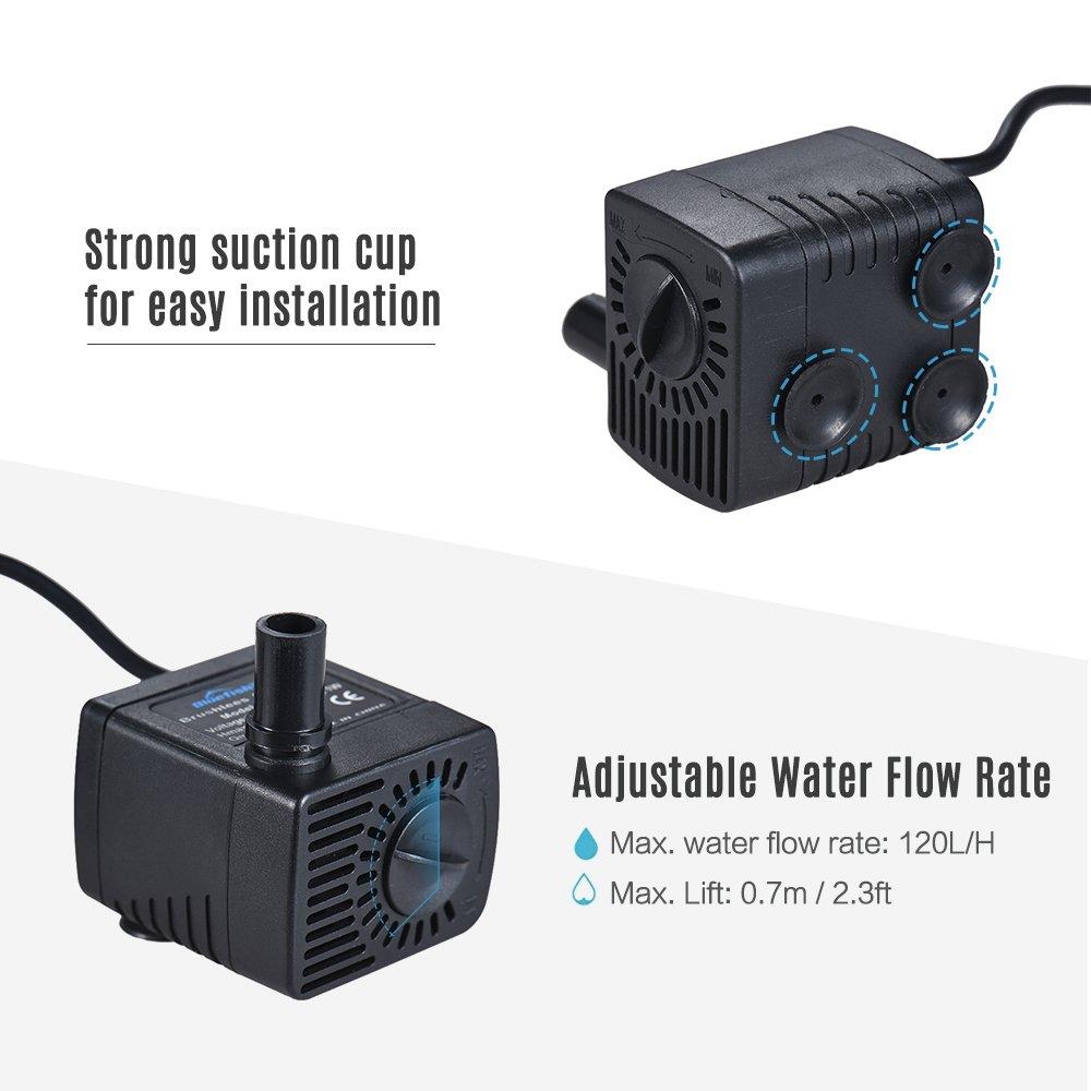 Brunnen Max Auftrieb 0.7M Decdeal USB Wasserpumpe 120L//H B/ürstenlose Aquariumpumpe Tauchpumpe f/ür Teiche