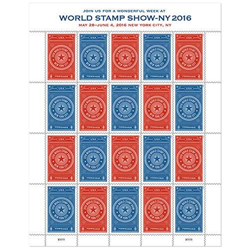 Sheet of 20 World Stamp Show-NY 2016 Forever Stamps from the U.S. Postal Service (2015 New Release) by - International Usps Mail