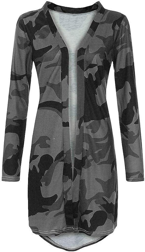 Toimothcn Womens Thin Camouflage Cardigan Tops Long Sleeve Slim Jacket Outerwear Coat