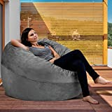 XXL Bean Bag Chair in Steel Grey - Big Velour Comfort Cover with Memory Foam Filler - Gigantic Bed, Large Sofa, Cozy Lounger, Chill Mattress - Kids, Adults & Teens Love This Huge Sack Panda Sleep