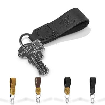 Llavero de piel auténtica fabricado a mano, cinta de piel para llaves para hombre y mujer, unisex – varios colores, negro