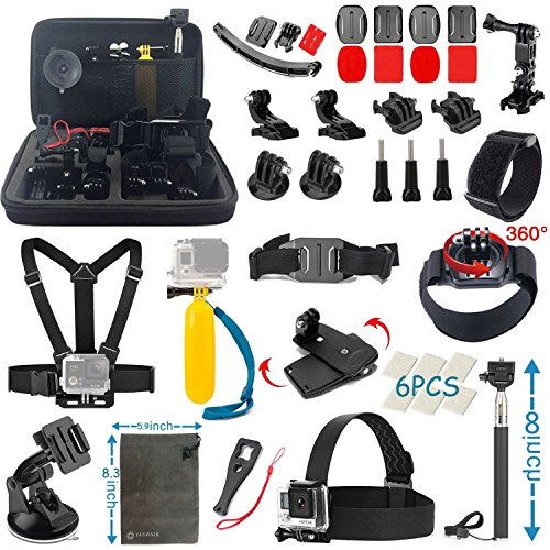 VANWALK Basic Common Accessories for GoPro HERO5 Session 4/3+/3/2/1 Camera, DBPOWER, AKASO, Canany, Lightdow,...