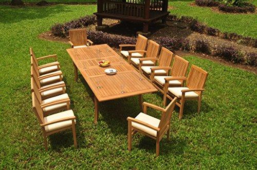 Table Rectangular Teak Dining Set (12 Seats 13 Pcs Grade-A Teak Wood Dining Set: 118