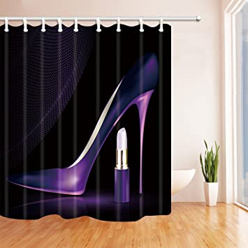 Girly Decor Shower Curtain By KOTOM Purple Ladies High Heels Shoes And Lipstick Polyester
