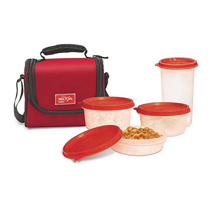 Milton Full Meal Combo 3 Containers Lunch Box   Red  EC SOF FST 0018_RED  Lunch Boxes