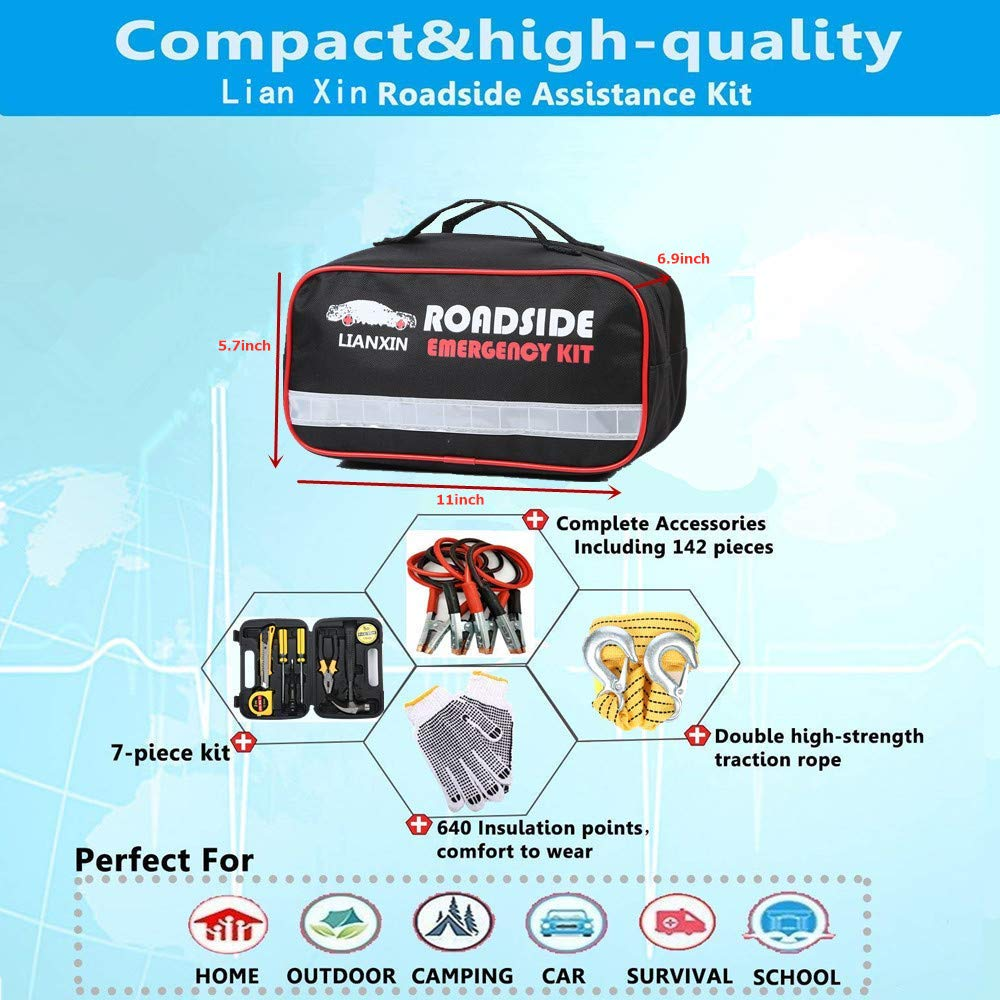122 Pieces ,Multi-Purpose Tool Kit,Traction Rope,etc The Ultimate Product is Integrated for All Cars /… Road Rescue First Aid Kit for Automotive Safety Kit,Jumper Cable LIANXIN Car Emergency Kit