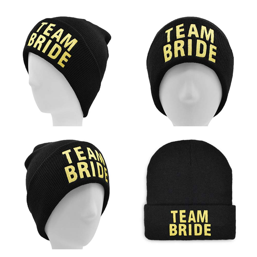 6 Pack Bachelorette Hats for Women Team Bride,Bride Tribe,Bride Squad Gold Embroidered Adjustable Headwear Erying Trade Team Bride