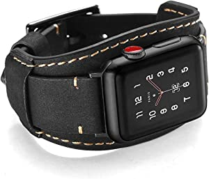 Coobes Compatible with Apple Watch Band 44mm 42mm Men Women Genuine Leather Compatible iWatch Bracelet Wristband Strap Compatible Apple Watch Series 6/5/4/3/2/1 SE (Crazy Horse Cuff Black, 44/42 mm)