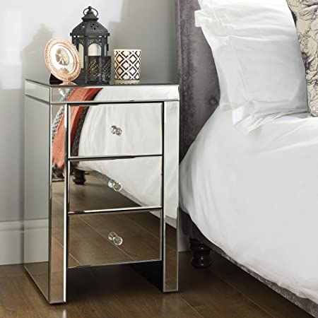 Mirrored Bedroom Furniture Happy Beds Seville Silver 3 Drawer Storage Bedside Table Height 64 Cm Width 40 Cm Depth 40cm Amazon Co Uk Kitchen Home