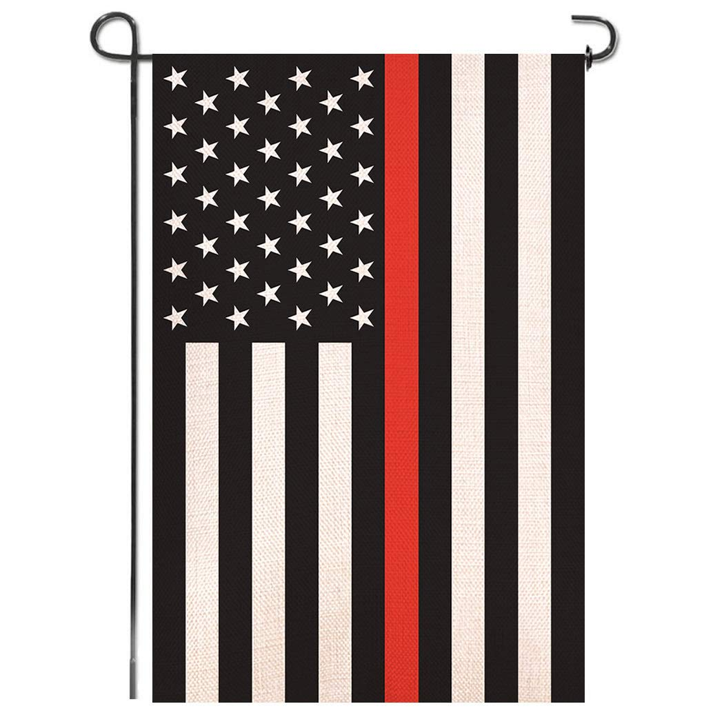 Shmbada Thin Red Line Burlap Garden Flag - Black White and Red Stripe American Honoring Firefighter Flag - Premium Double Sided Decorative for Outdoor Yard Lawn, 12.5x18.5 Inch