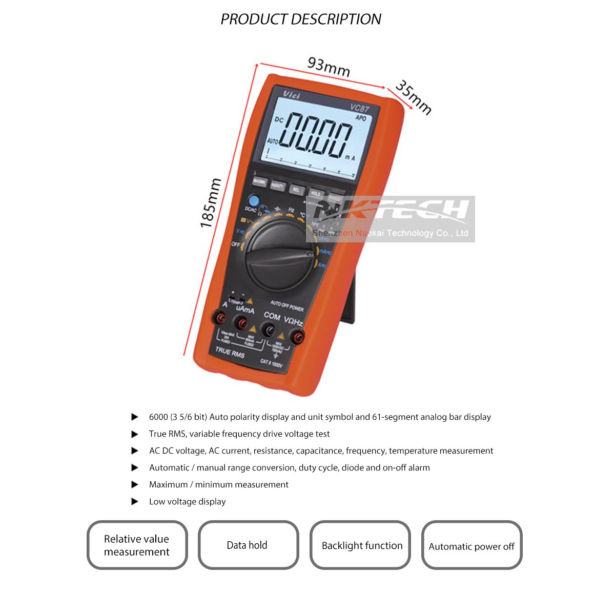 NKTECH VICI VC87 True RMS Digital Multimeter Temperature Resistance ...