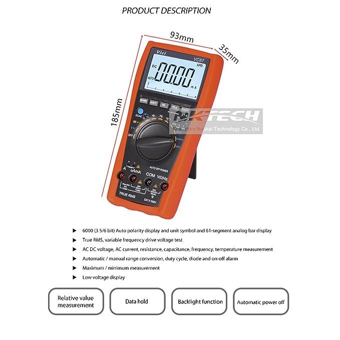 nktech Vici vc87 True RMS Digital Multimeter Temperatur Widerstand ...