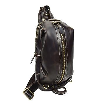 f67679a476d0c Luufan Herren Echtes Leder Sling Bag Brusttasche Retro One Shoulder 2way  Durable Umhängetasche Klein (Brown