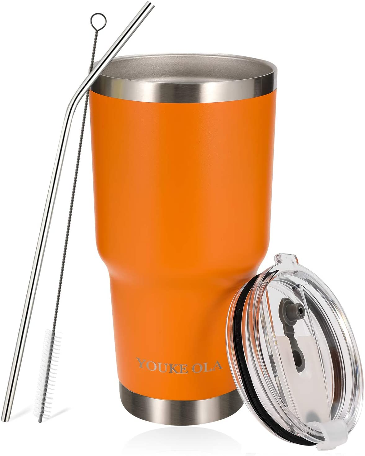 Stainless Steel Tumbler 30oz - Vacuum Insulated Tumbler Coffee Cup Double Wall Large Travel Mug with Lid, Straw, Brush, Gift Box Set (Orange, 30oz-1 Pack)