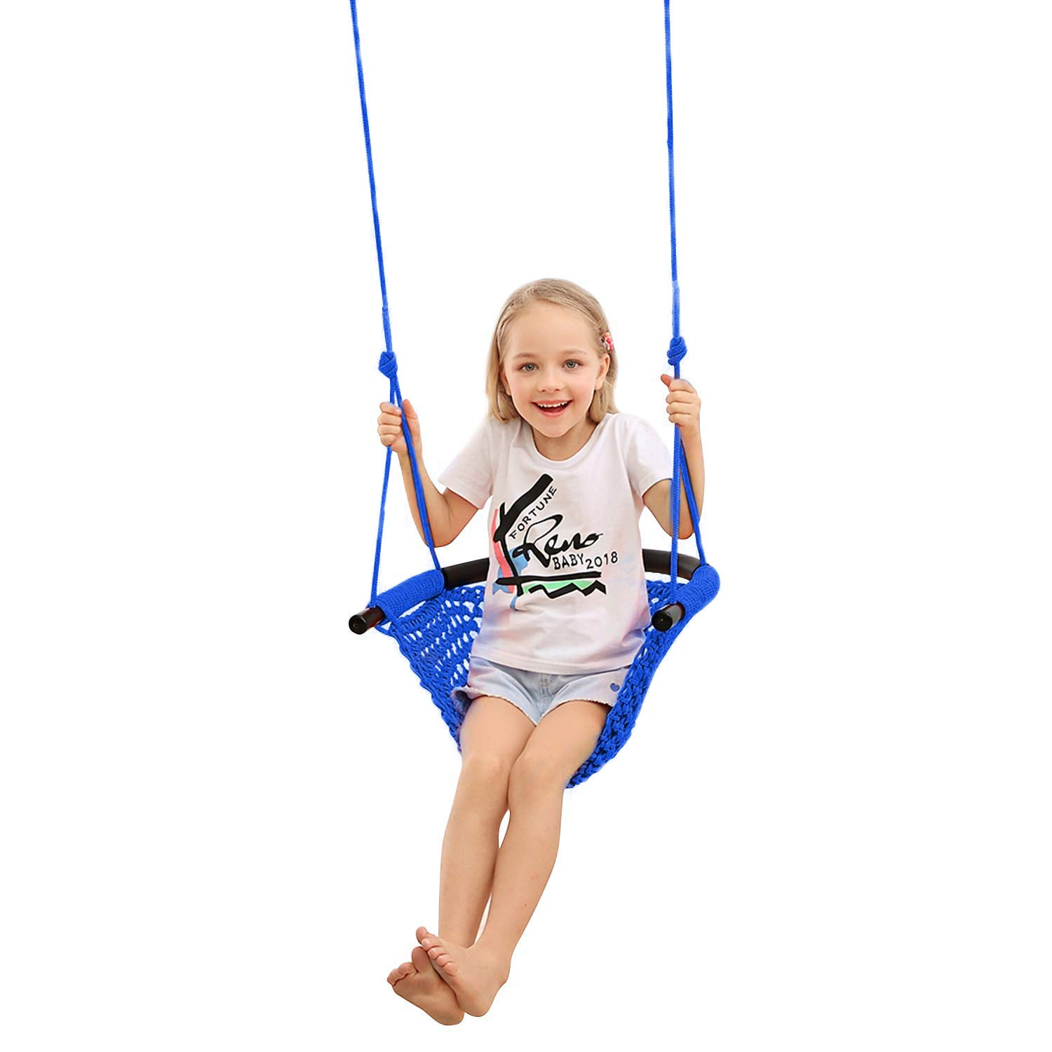 JKsmart Swing Seat for Kids Heavy Duty Rope Play Secure Children Swing Set,Perfect for Indoor,Outdoor,Playground,Home,Tree,with Snap Hooks and Swing Straps,440 lbs Capacity,Blue(Patent Pending) by JKsmart