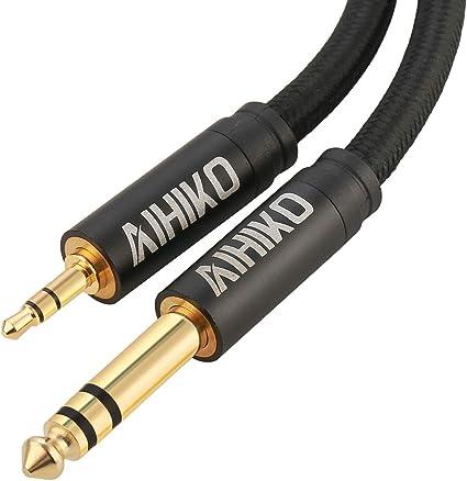 2m designacable 3.5mm Stereo Mini Jack to Mono 1//4 Jack Cord Black
