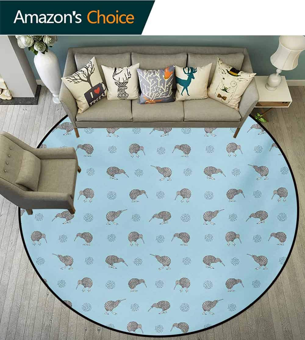 RUGSMAT Grey Blue Rug Round Home Decor Area Rugs,Kiwi Birds Indigenous New Zealand Animals Doodle Style Tropical Wildlife Non-Skid Bath Mat Living Room/Bedroom Carpet,Diameter-39 Inch