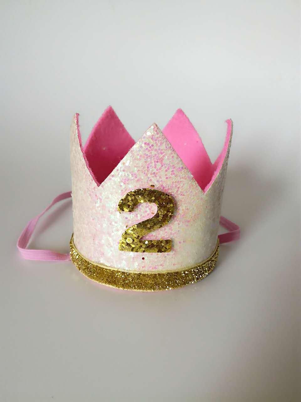 corona dorada Diadema de cumplea/ños para ni/ña de 2 a/ños