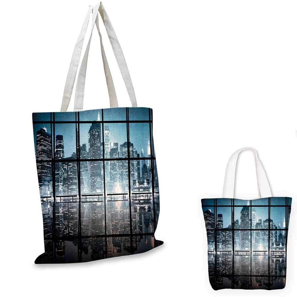 12x15-10 Modern canvas messenger bag Modern New York City Scenery at Night with Skyscrapers Buildings Print shopping bag for women Black and Dark Blue