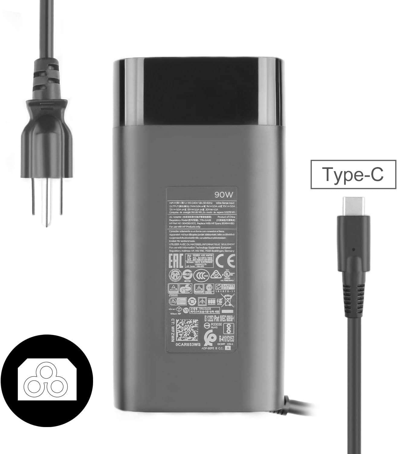 New Genuine Original 20V 4.5A 90W Type C Charger for HP USB-C TPN-DA08 904082-003 904144-850 ADP-90FE Notebook AC Adapter