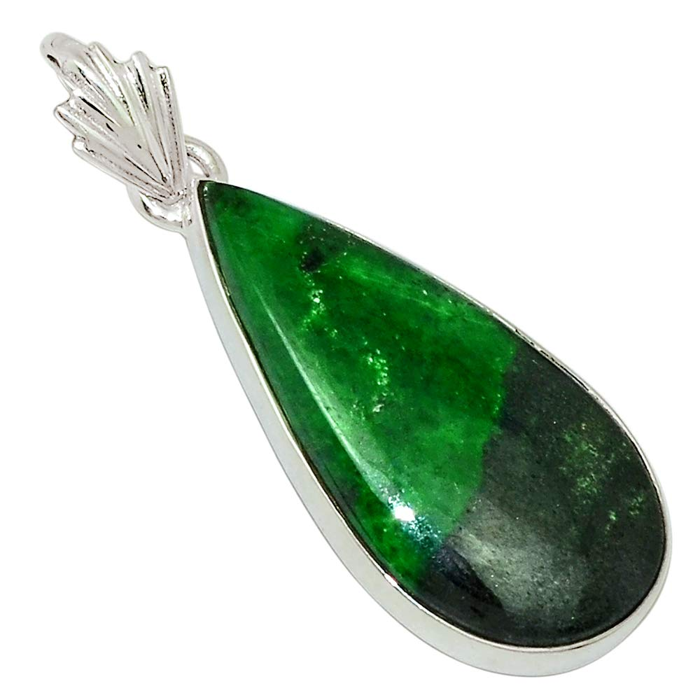 Xtremegems South African Transvaal Jade 925 Sterling Silver Pendant Jewelry 1 1//2 30620P