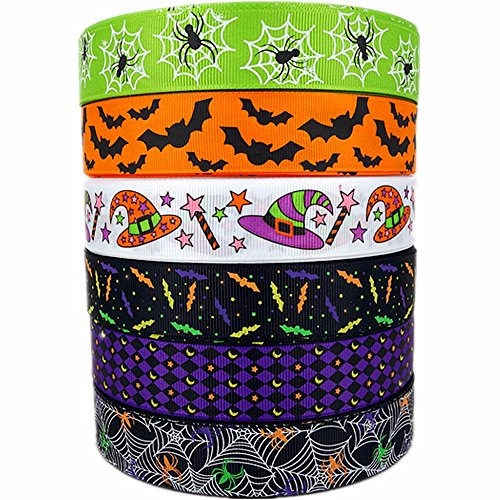 1 30yards (6 Mixed Lot) Halloween Holiday Ribbons Bats Spiders Web Pattern Printed Grosgrain Ribbon 2 Party Hair Bow Festival Decor