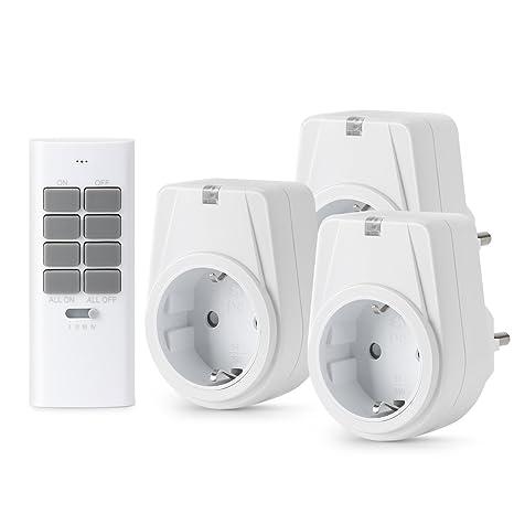 Lunvon 12-Kanal Funksteckdosen Set aus 3 x Funksteckdose mit 1 x Fernbedienung, Funkschalt Set Selbstlern-Funktion, 1000 Watt