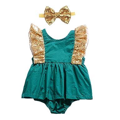 6f633db9273 YOHA Baby Girls Sequins Romper Bow Headband Set Newborn Birthday Dress  Outfit Green