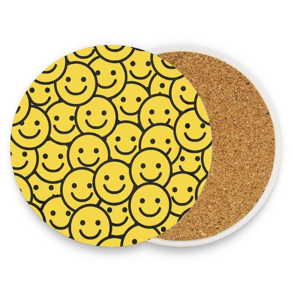 ドリンク用コースター セラミックラウンドコルク鍋敷き 耐熱性 ホットパッド テーブルカップマット コースター 1パック  Smiley Yellow Smile Face Happy Mood Funny Fun B07RRTYFC8