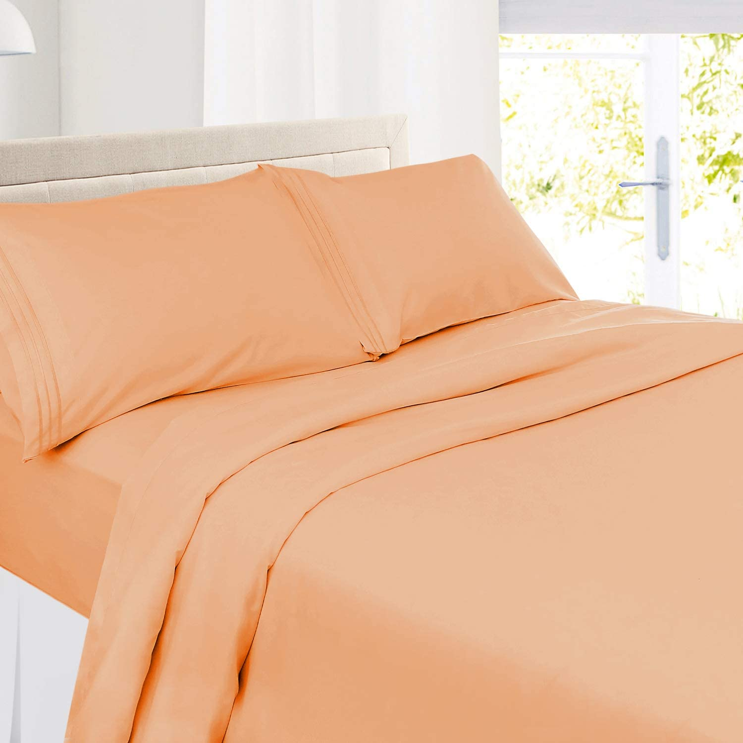 Apricot Buff Orange Set of 2 Nestl Bedding Solid Microfiber King 20 x 40 Inches Pillowcases