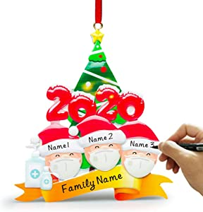 Nmoder 1 Pack 2020 Personalized Christmas Ornaments Kit, 3 Family Members Creative Gift Christmas Decorations for Home Indoor Outdoor Christmas Decor