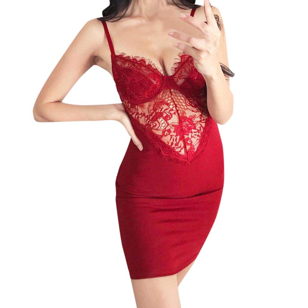 Gibobby Nightdress for Women Sling Sexy Slim Fit Bag Hip Hollow Out Strappy Backless Lace Stitching Nightwear Sleepwear Red by Gibobby_Babydoll (Image #1)