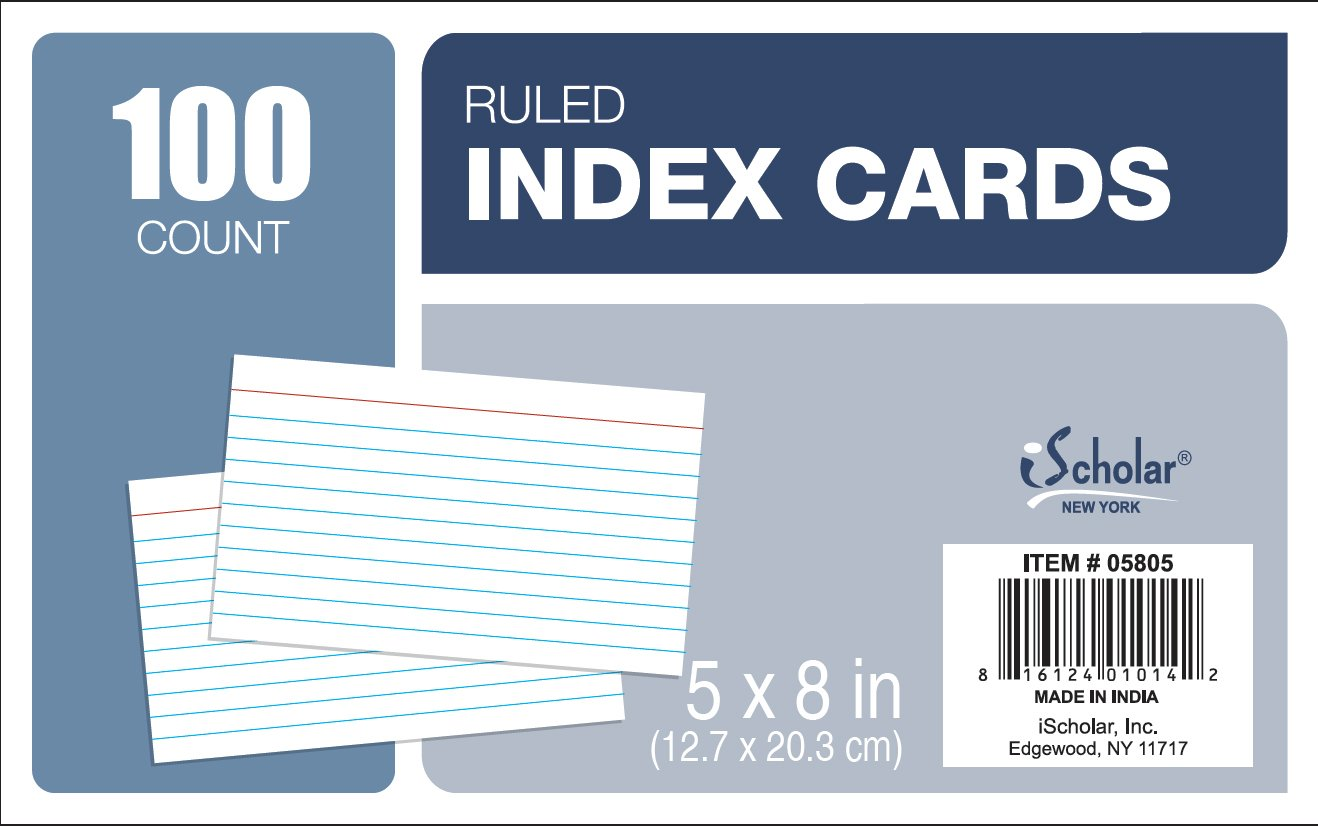 iScholar Recycled White Ruled Index Cards, 5 X 8-Inch, 100 Cards 05805