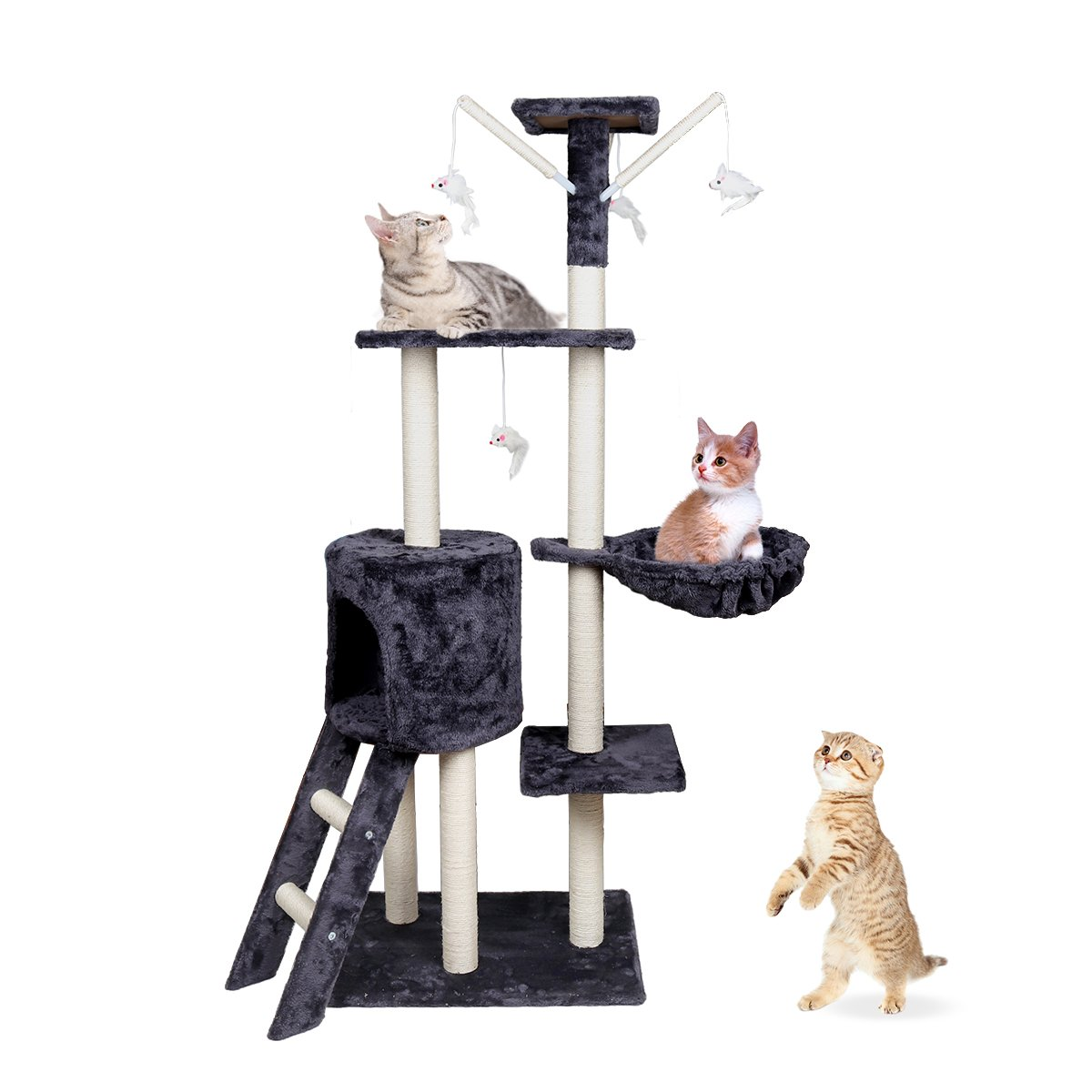 Goetland 5-Level 54'' Jumbo Cat Tree Tower Condo Kitten Scratcher Play House Pet Furniture with Toys