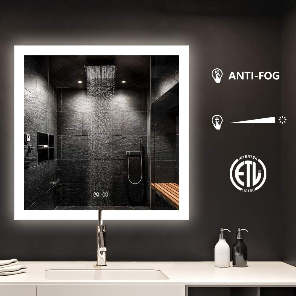"""smartrun Wall Mounted Led Lighted Backlit Mirror, Square Bathroom Vanity Mirrors, Defogger Control Button Dimmable Light 36""""x36"""""""