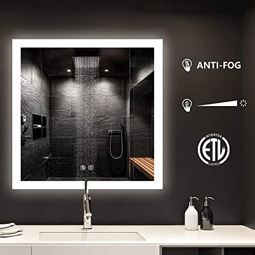 smartrun Vanity Wall Mirror, Wall Mounted Led Lighted Bathroom Mirror with Touch Switch Defogger Control Button Dimmable Light 36 x36