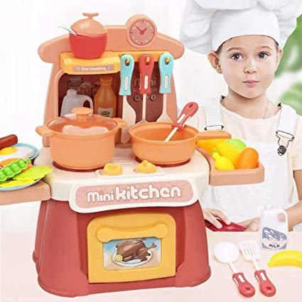 Kitchen Play Set Toys For Girls Children Kids Pretend Play Cooking Food Playset