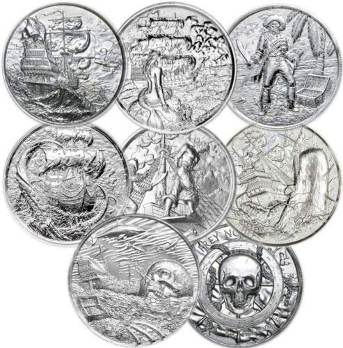Privateer Series Complete Collection of 7 Stunning Ultra High Relief 2 OZ Silver Rounds (2 Oz Privateer Ultra High Relief Silver Round)