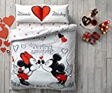 MINNIE MICKEY PERFECT MATCH Double Queen Size Duvet Quilt Cover Bedding Set Gift for Valentine Day 100% Cotton 4 PCS (Queen)