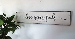 Love Never Fails 1 Corinthians Modern Farmhouse Stylevintage Wood Sign Rustic Wooden Signs Wood Block Plaque Wall Decor Art Home Decoration - 3x18 inch