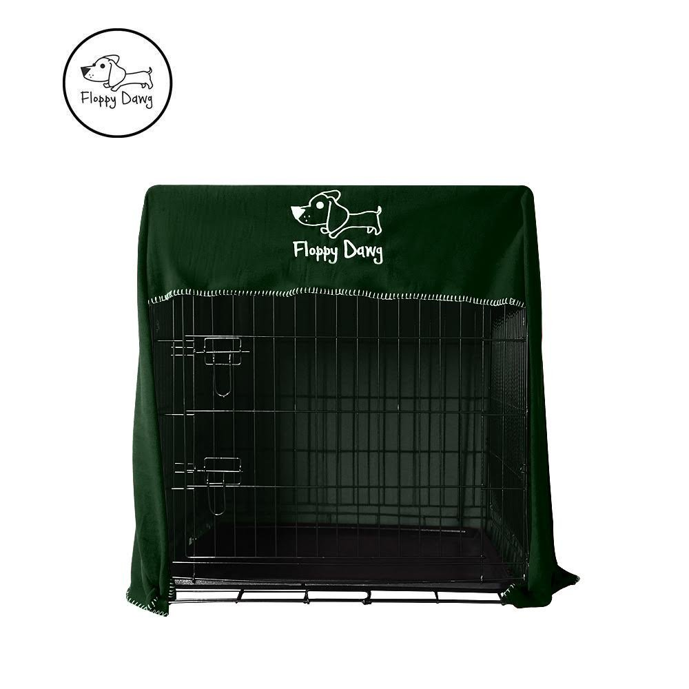 Floppy Dawg Crate Cover. Fits 42 Inch Dog Crates or Smaller. Easy to Put On, Take Off, and Adjust. Doubles as a Comfy Blanket. Kale Green Lightweight and Breathable Polar Fleece.